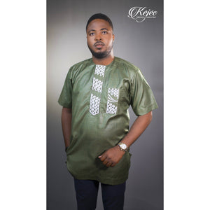 RODI African Print Short Sleeve Shirt Embroidered (Green) EMBROIDERED SHIRT KEJEO