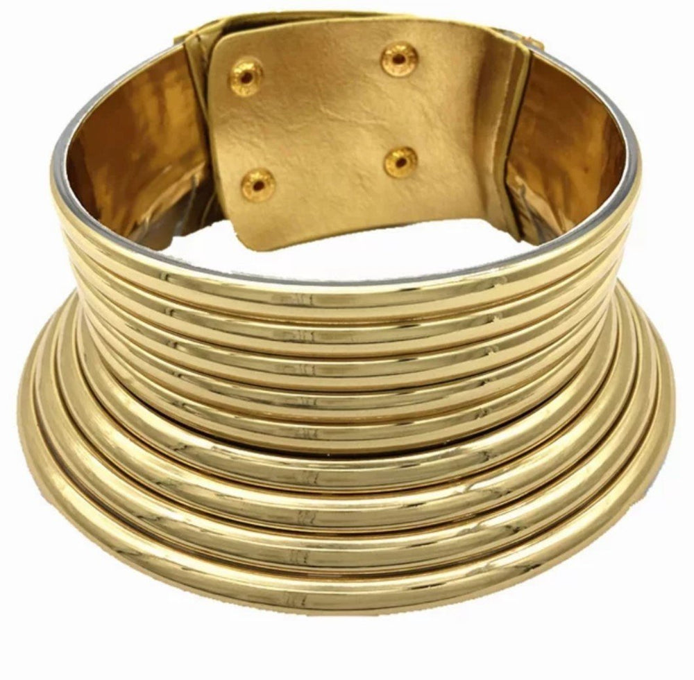 SASHA African Choker Necklace (Round and Gold) - KEJEO DESIGNS