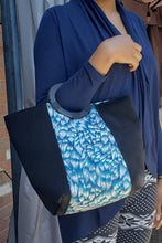 Load image into Gallery viewer, SIMA AFRICAN PRINT BAG (LIGHT BLUE/BLACK/WHITE) - KEJEO DESIGNS