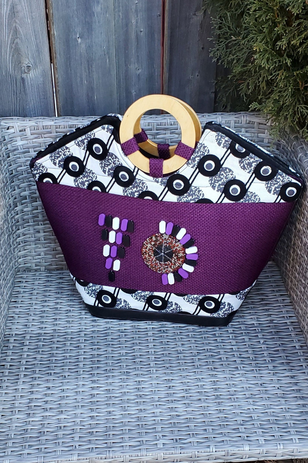 TELIYA African Print Bag (Purple) - KEJEO DESIGNS