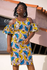 YELLOW-BLUE FLOWER AFRICAN PRINT WOMEN'S DRESS - KEJEO DESIGNS