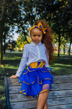 YELLOW BULB AFRICAN PRINT GIRLS' TIERED TULLE SKIRT - KEJEO DESIGNS