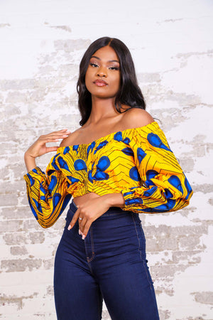 YELLOW BULB AFRICAN PRINT PUFFY SLEEVE WOMEN'S CROP TOP - KEJEO DESIGNS
