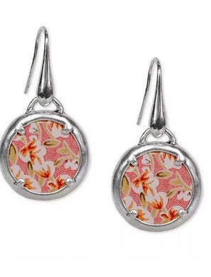 Patricia Nash Silver-Tone Rose-Print Leather Inset Drop Earrings