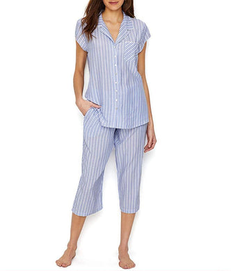 Eileen West INDIGO STRIPE Woven Cropped Pajama Set, US XLarge - racks-op
