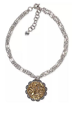 Patricia Nash Antique Rose Medallion Double Chain Necklace, 21-1/4