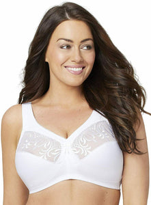 Glamorise WHITE Magic Lift Embroidered Full Figure Wireless Bra, US 40F, UK 40E