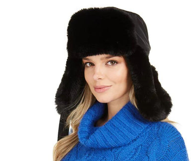 DKNY Black Faux-Fur Trapper Hat, One Size