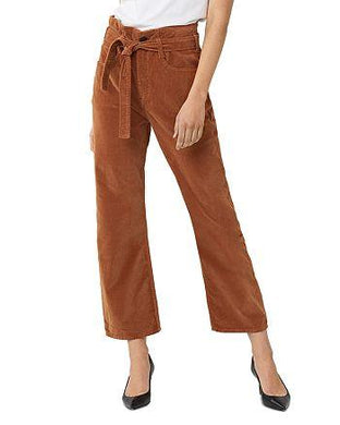 3x1 Women's RUSSET Kelly Velvet Paperbag Tie Belt Wide Leg Ankle Jeans 23