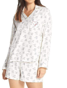 Women's Ed Ellen Degeneres Dog Print Shorty Flannel Pajamas, Size Large - Ivory - racks-op