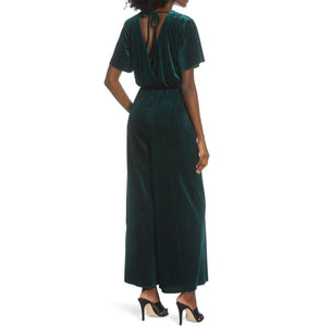 Mink Pink Emerald Velvet Twist Front Jumpsuit, Medium