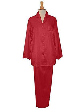 Linda Hartman Claret, Silk Embroidered Pajamas, M - racks-op