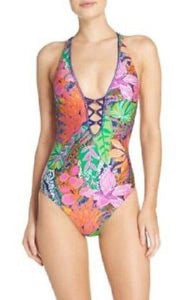 Trina Turk Multi Tropic Escape V-Plunge One Piece Swim Suit, Size 6 - racks-op