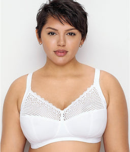 Glamorise WHITE Comfort Lift Full Figure Support Wire Free Bra, US 40H, UK 40FF