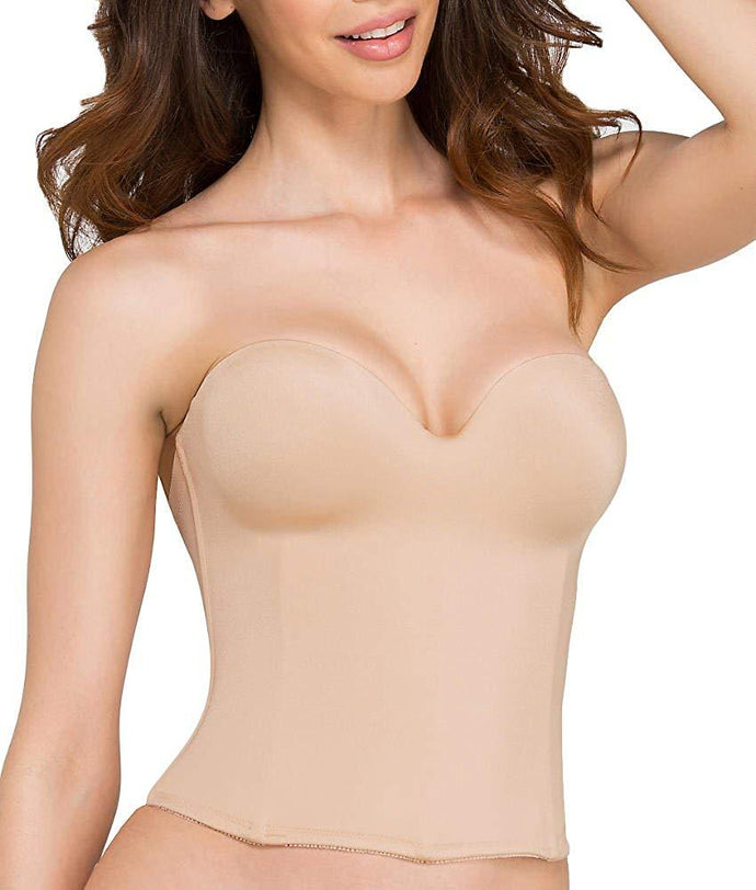 Dominique NUDE Ariel Hidden Underwire Longline Bridal Bra, US 32B - racks-op