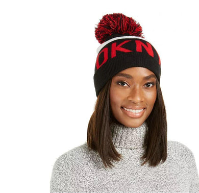 DKNY Red Logo Stadium Beanie With Pom, One Size