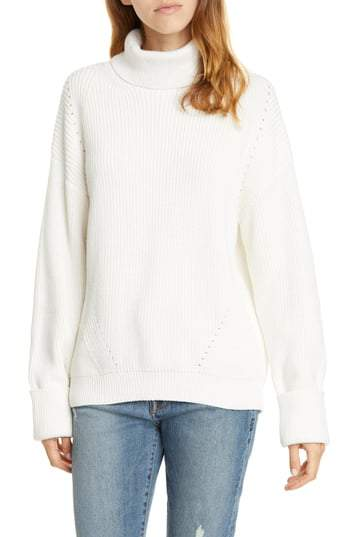 Joie AGED WHITE Aleck Turtleneck Sweater, US X-Large