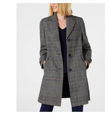 Vince Camuto Grey Single-Breasted Plaid Coat, Large