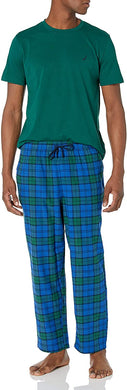 Nautica Men's TIDAL GREEN PJ Set S/S Crew Tee and Flannel Pant, XL