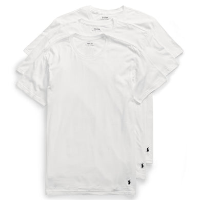 POLO RALPH LAUREN WHITE CLASSIC FIT COTTON T-SHIRTS 3-PACK, SIZE SMALL