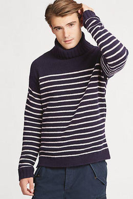 Polo Ralph Lauren Navy Striped Wool Turtleneck, Small