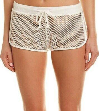 L*Space WHITE Mesh Madness Runner Shorts, US X-Small