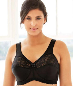 Glamorise Woman's Black Magic Lift Support Wire Free Bra, Size 38H NWOT - racks-op