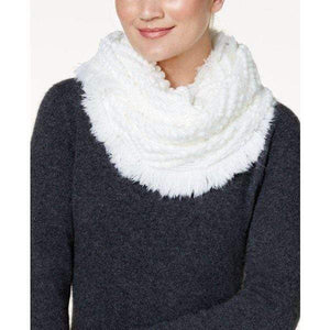 INC Women's Ivory Fringe Infinity Scarf, One Size Fits All