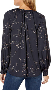 Joie MIDNIGHT Allea Floral Print Crepe Blouse, US Small