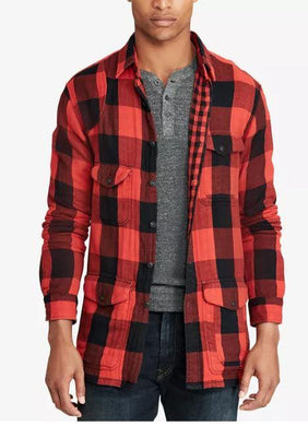 Polo Ralph Lauren Men's Red Classic Fit Checked Shirt, Large