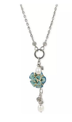 Patricia Nash Silver-Tone Imitation Pearl & Leather Flower 28