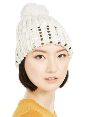 DKNY Ivory and Gold Flat-Stud Metallic Rib-Knit Beanie, One size
