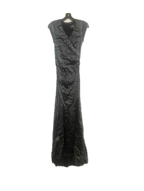Nicole Miller Artelier BLACK Solid Techno Metal Surplus Tuck Gown, US 6