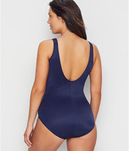 Load image into Gallery viewer, Miraclesuit MIDNIGHT Illusionists Crossover Soft Cup One Piece Swimsuit, US 16