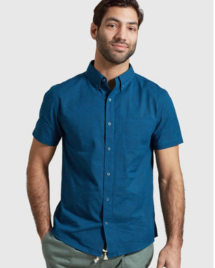 United By Blue DEEP TURQUOISE Eco Dry Short Sleeve Button Down Shirt, US Small