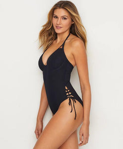 MISS MANDALAY ICON PLUNGE ONE-PIECE SWIMSUIT, BLACK, 34DD - racks-op