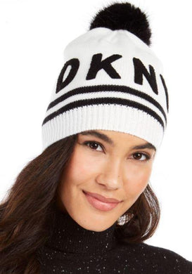 DKNY Women's White Varsity Letter Beanie With Pom, One Size