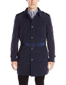 Kenneth Cole New York Men's Navy Reino Bleted Trench Raincoat, Size L