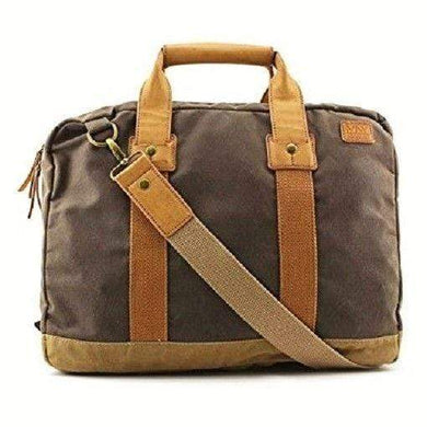 MARC NY ANDREW MARC FAIRFIELD CANVAS & LEATHER TOP HANDLE BRIEFCASE