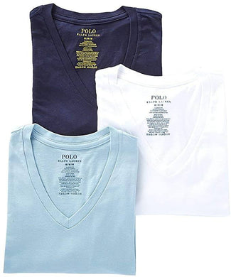 POLO RALPH LAUREN WHITE/BLUE/NAVY CLASSIC FIT COTTON T-SHIRTS 3-PACK, SIZE XLARGE