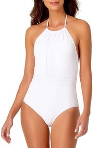 Anne Cole WHITE Crochet Mix High Neck One Piece Swimsuit, US 6