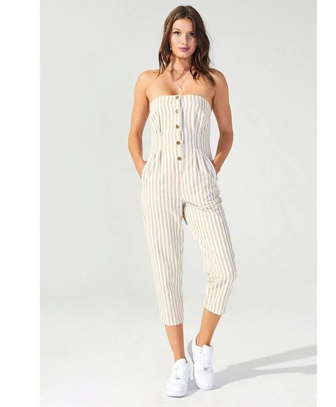 Mink Pink Women's White/Beige Run Free Stripe Jumpsuit, Medium