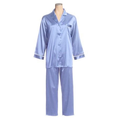 Linda Hartman Peri Blue, Silk Embroidered Pajamas, M - racks-op