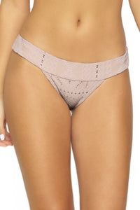 PilyQ BLUSH Thick Banded Brazilian Bikini Swim Bottom, US Large