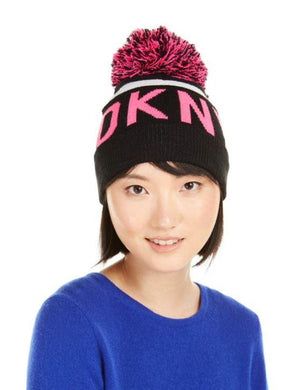 DKNY Pink and Black Womens Logo Stadium Beanie With Pom, One Size