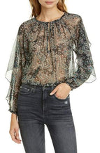 Load image into Gallery viewer, Joie CAVIAR Kriston Paisley Ruffle Chiffon Blouse, US X-Small