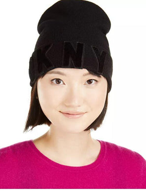 DKNY Black Logo Velvet-Flocked Flat-Knit Beanie, One Size