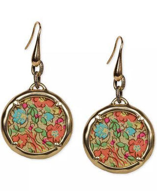 Patricia Nash Gold-Tone Rose-Print Leather Inset Charm Drop Earrings ELENA