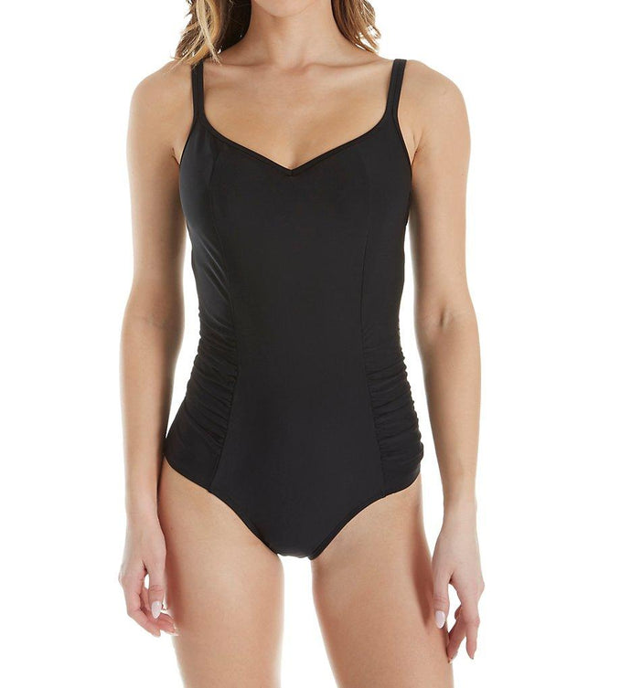 Panache BLACK Anya Bra-Sized Balconnet One-Piece Swimsuit, US 40HH - racks-op