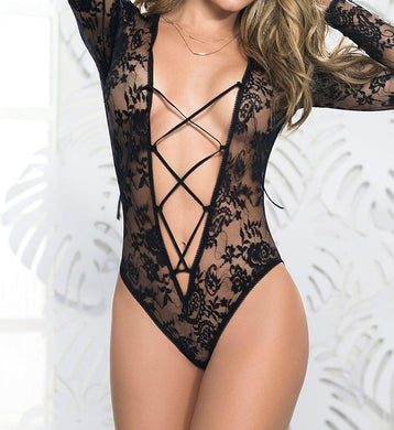 Mapalé BLACK Lace-Up Plunge Teddy, US Large - racks-op